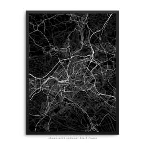 Bern Switzerland City Street Map Black Poster