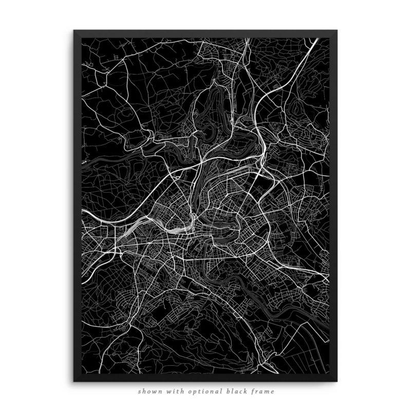Bern Switzerland City Street Map Black Poster