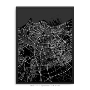 Casablanca Morocco City Street Map Black Poster