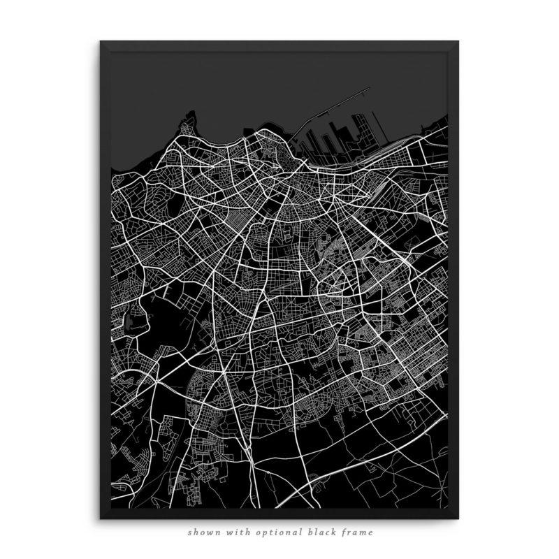 Casablanca Morocco City Street Map Black Poster