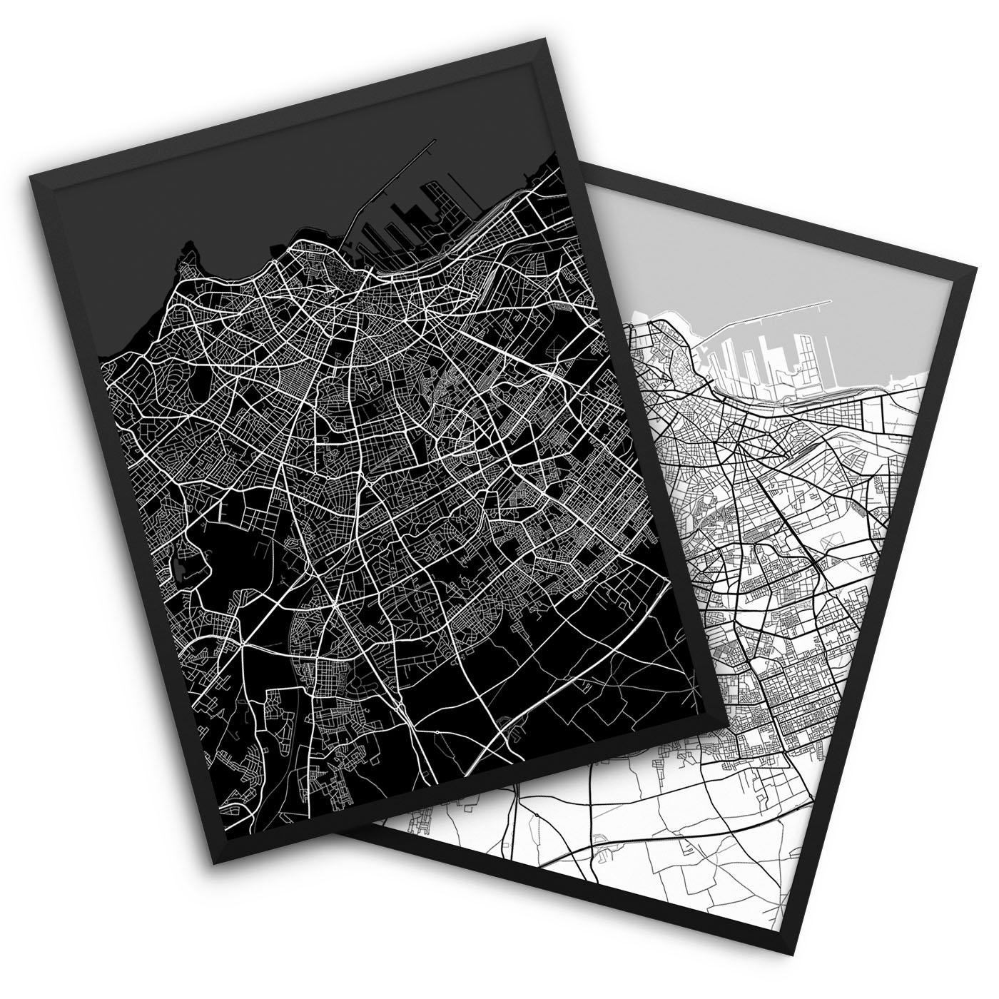 Casablanca Morocco City Map Decor