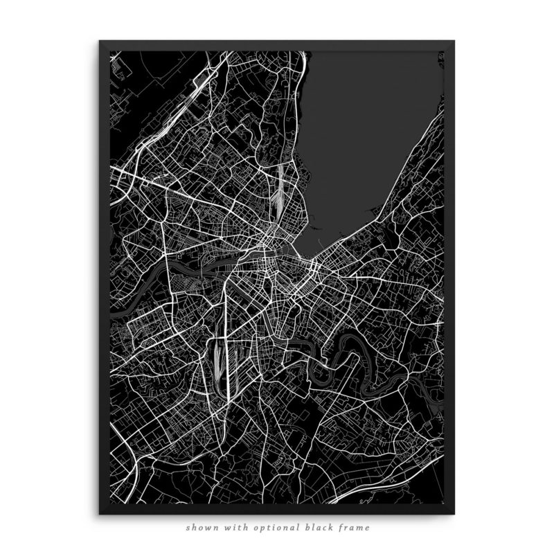 Geneva Switzerland City Street Map Black Poster