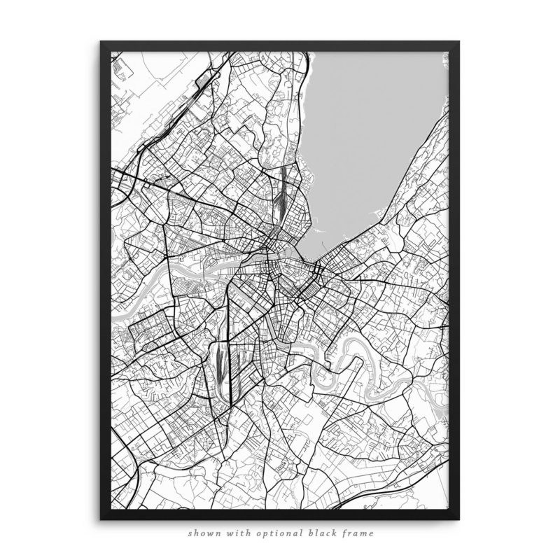 Geneva Switzerland City Street Map White Poster