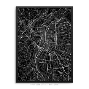 Lyon France City Street Map Black Poster