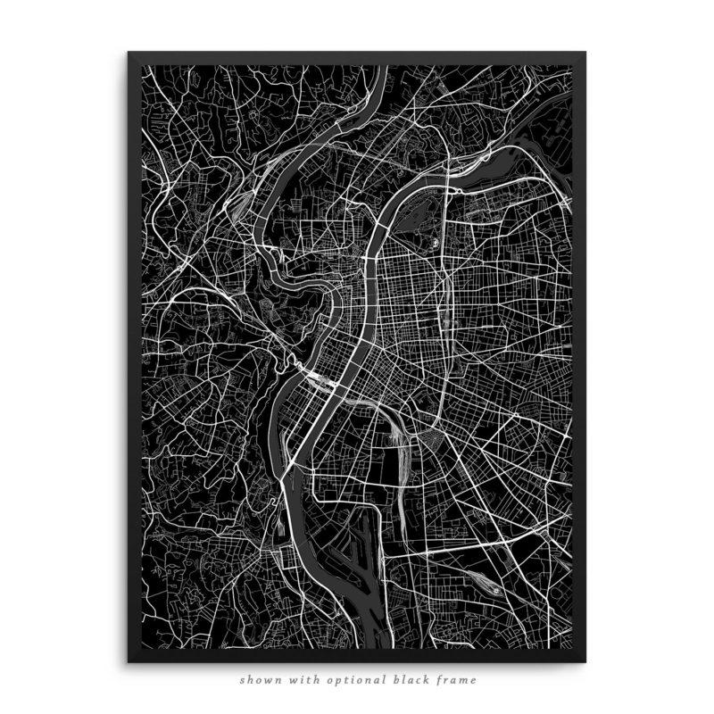 Lyon France City Street Map Black Poster