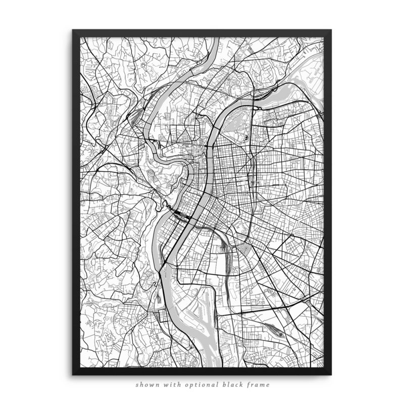 Lyon France City Street Map White Poster