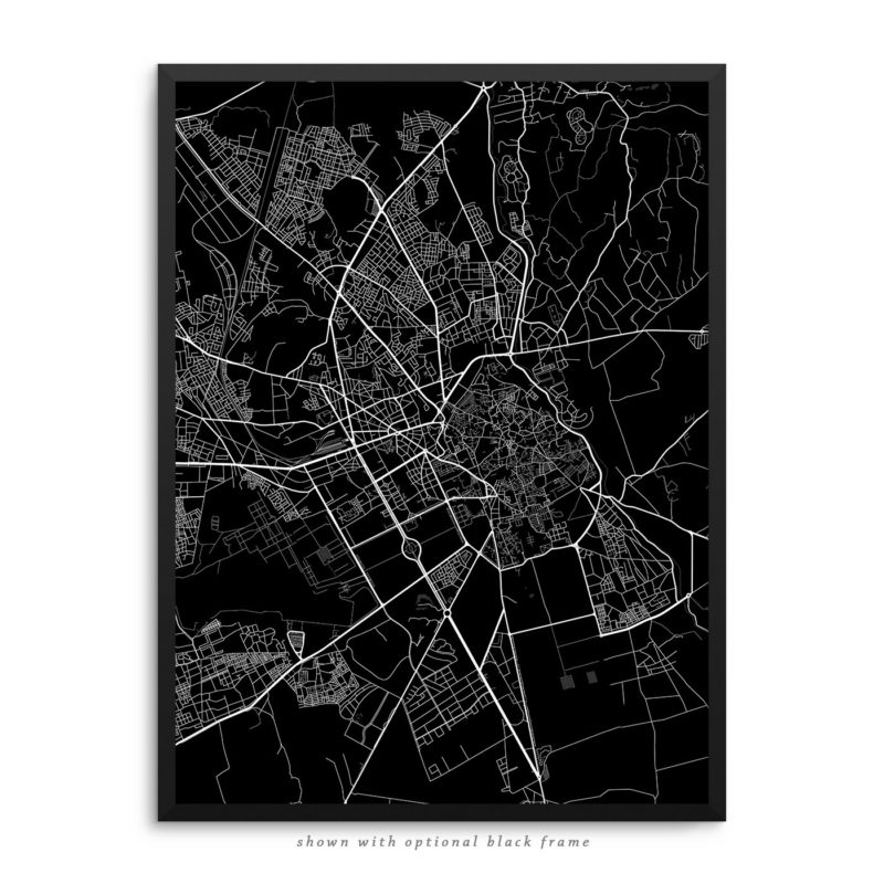 Marrakesh Morocco City Street Map Black Poster