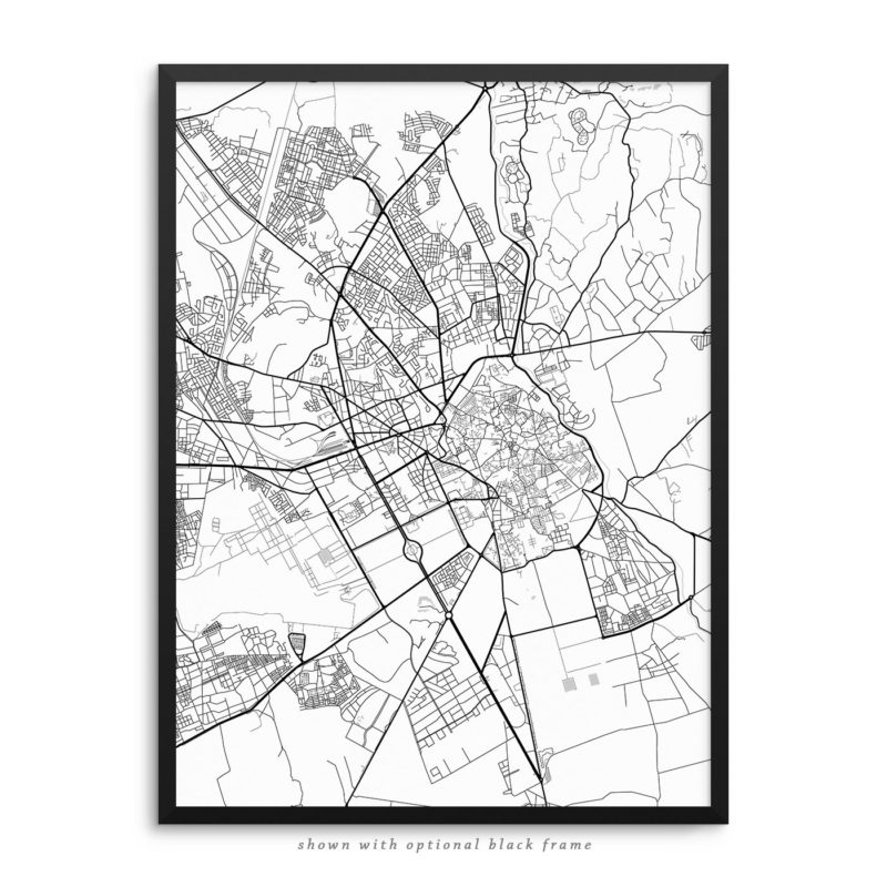 Marrakesh Morocco City Street Map White Poster