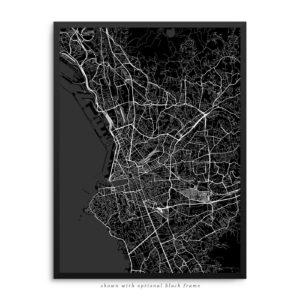 Marseille France City Street Map Black Poster