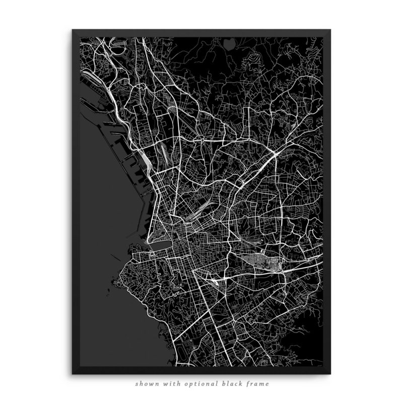 Marseille France City Street Map Black Poster