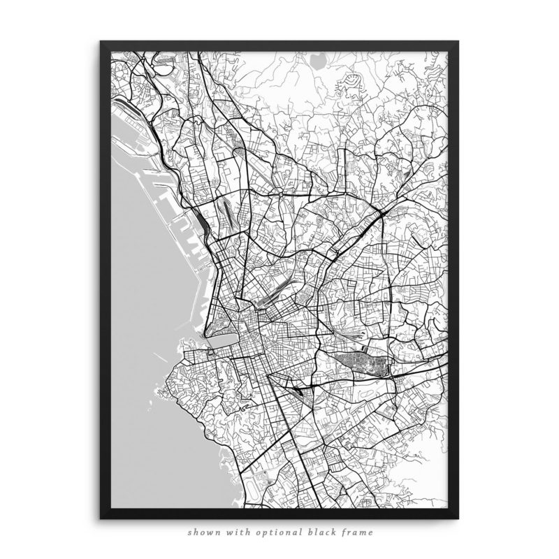 Marseille France City Street Map White Poster