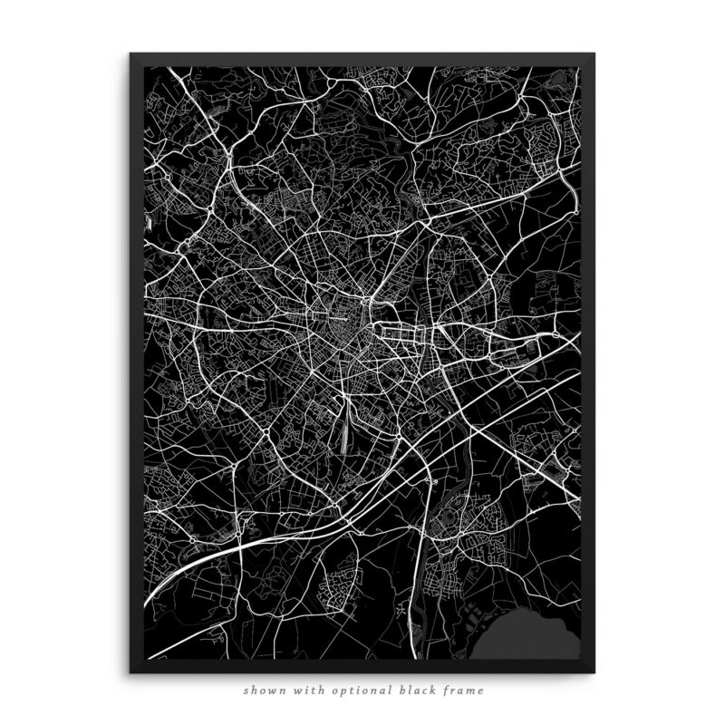 Montpellier France City Street Map Black Poster