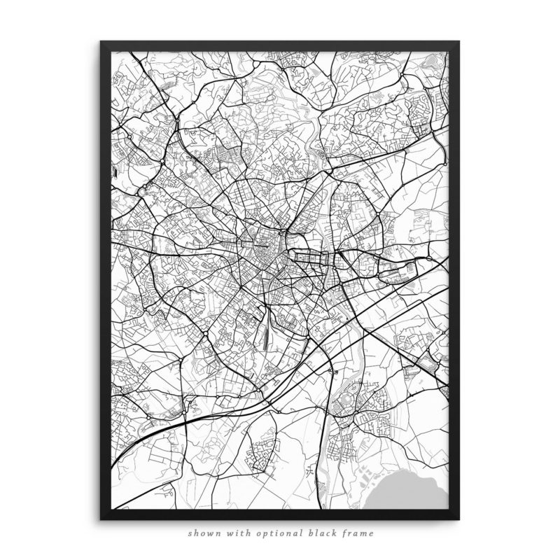 Montpellier France City Street Map White Poster
