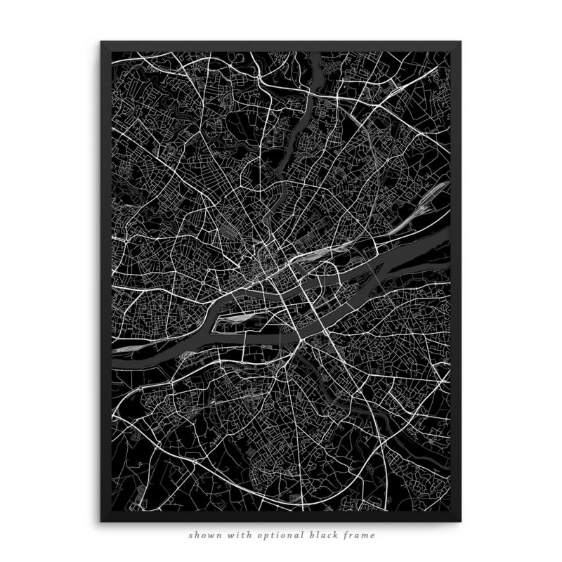 Nantes France City Street Map Black Poster