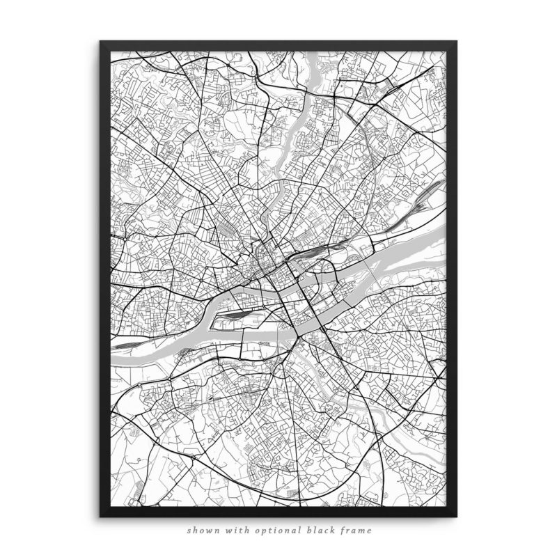 Nantes France City Street Map White Poster