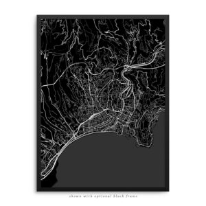 Nice France City Street Map Black Poster