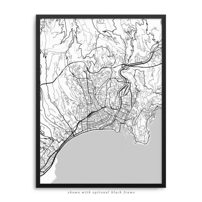 Nice France City Street Map White Poster