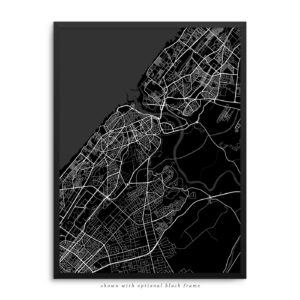Rabat Morocco City Street Map Black Poster