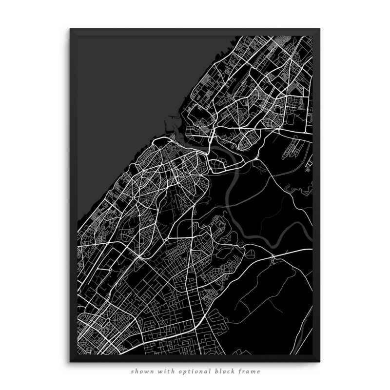 Rabat Morocco City Street Map Black Poster