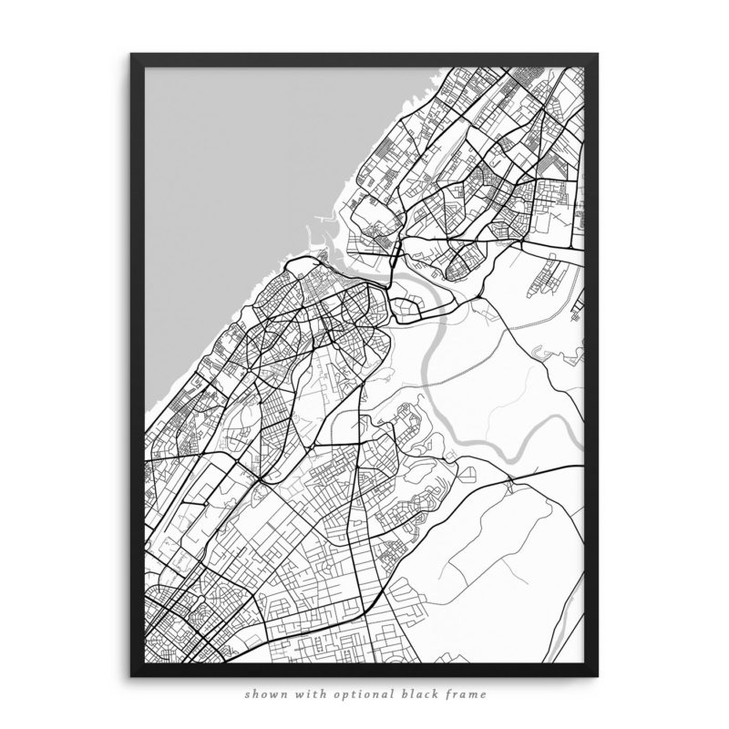 Rabat Morocco City Street Map White Poster