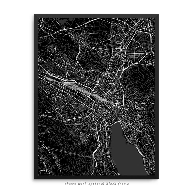 Zurich Switzerland City Street Map Black Poster