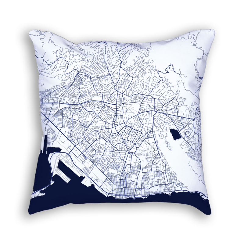 Kingston Jamaica City Map Art Decorative Throw Pillow