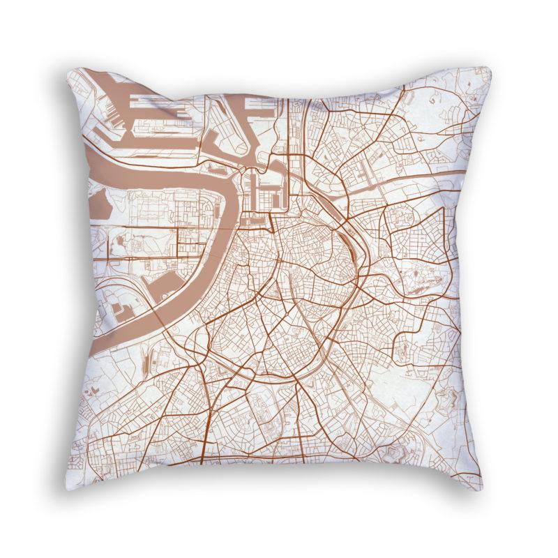 Antwerp Belgium City Map Art Decorative Throw Pillow