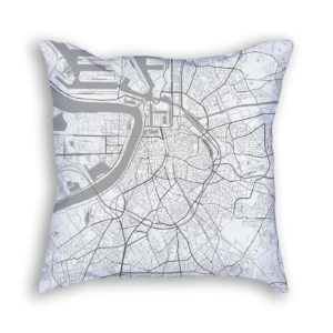 Antwerp Belgium City Map Art Decorative Throw Pillow