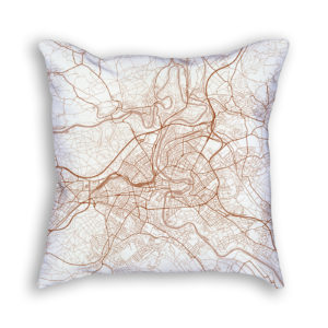 Bern Switzerland City Map Art Decorative Throw Pillow