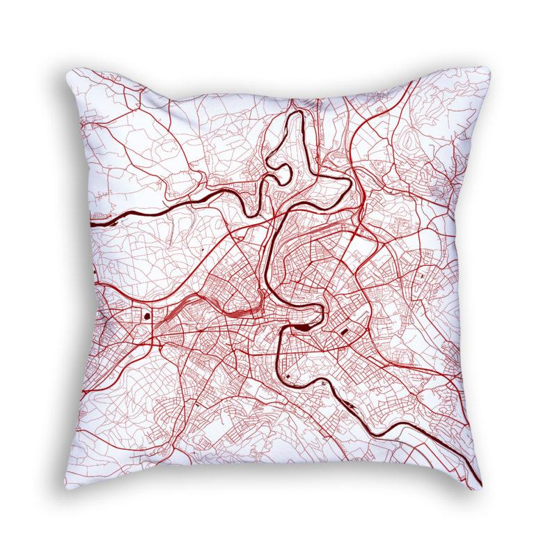 Bern Switzerland City Map Art Decorative Throw Pillow