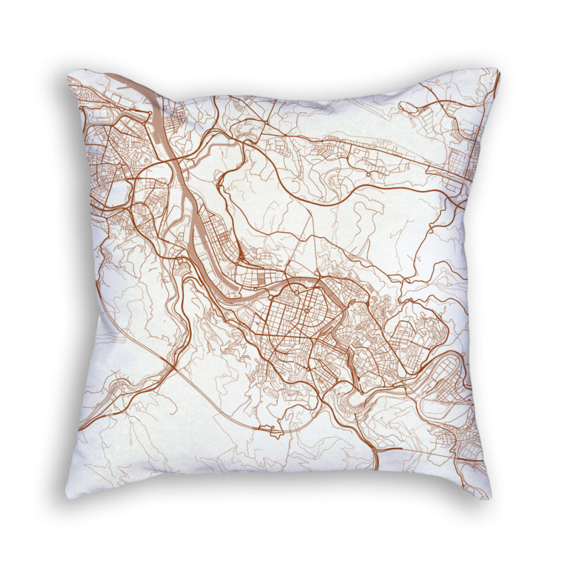 Bilbao Spain City Map Art Decorative Throw Pillow