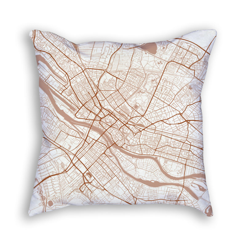 Bremen Germany City Map Art Decorative Throw Pillow