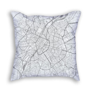 Brussels Belgium City Map Art Decorative Throw Pillow