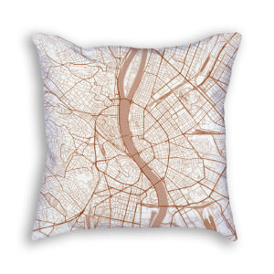 Budapest Hungary City Map Art Decorative Throw Pillow