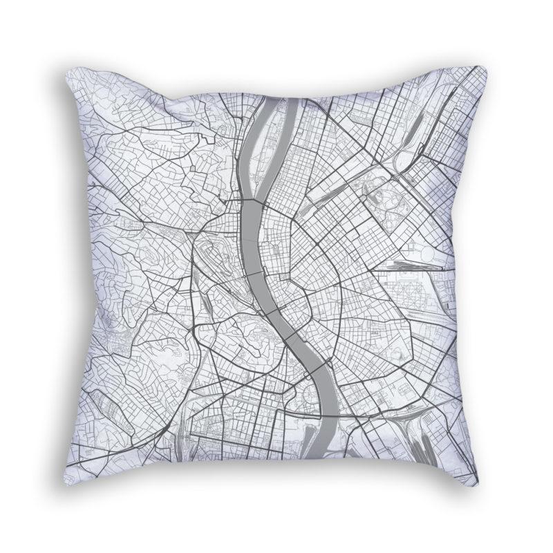 Budapest Hungary City Map Art Decorative Throw Pillow