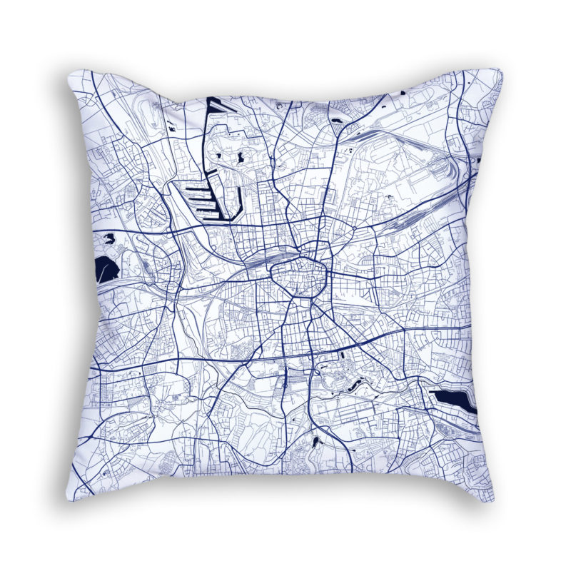 Dortmund Germany City Map Art Decorative Throw Pillow