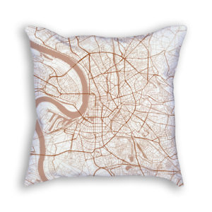 Dusseldorf Germany City Map Art Decorative Throw Pillow