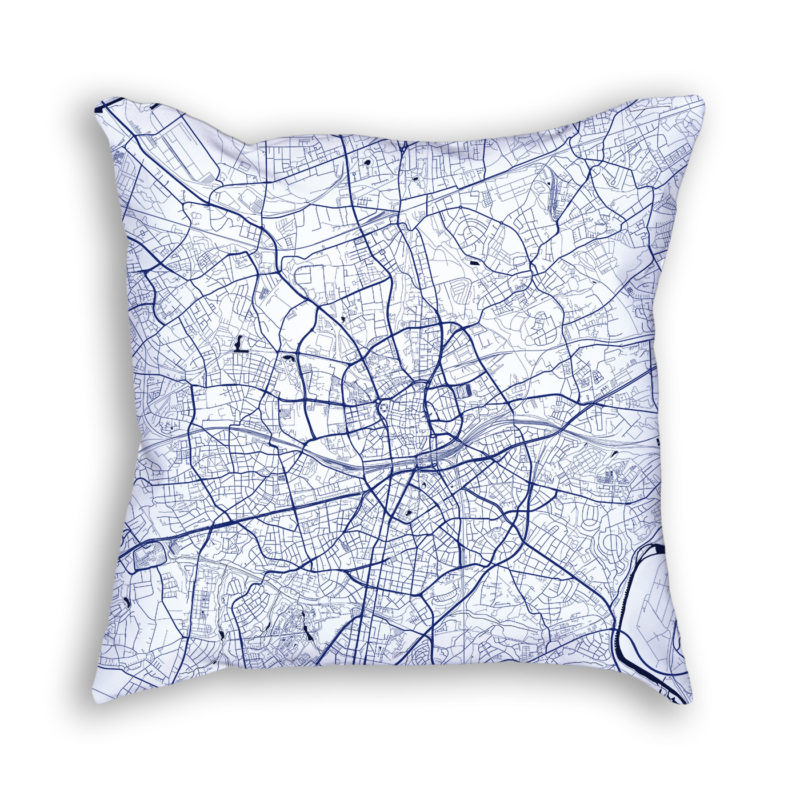 Essen Germany City Map Art Decorative Throw Pillow