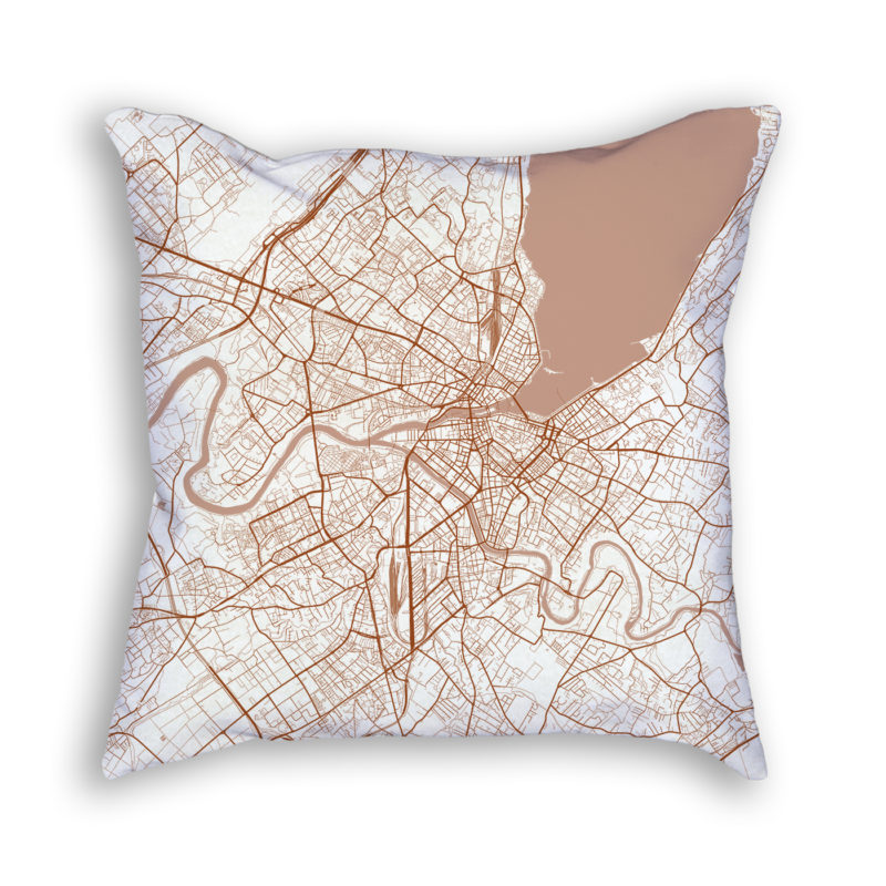 Geneva Switzerland City Map Art Decorative Throw Pillow