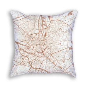 Ghent Belgium City Map Art Decorative Throw Pillow