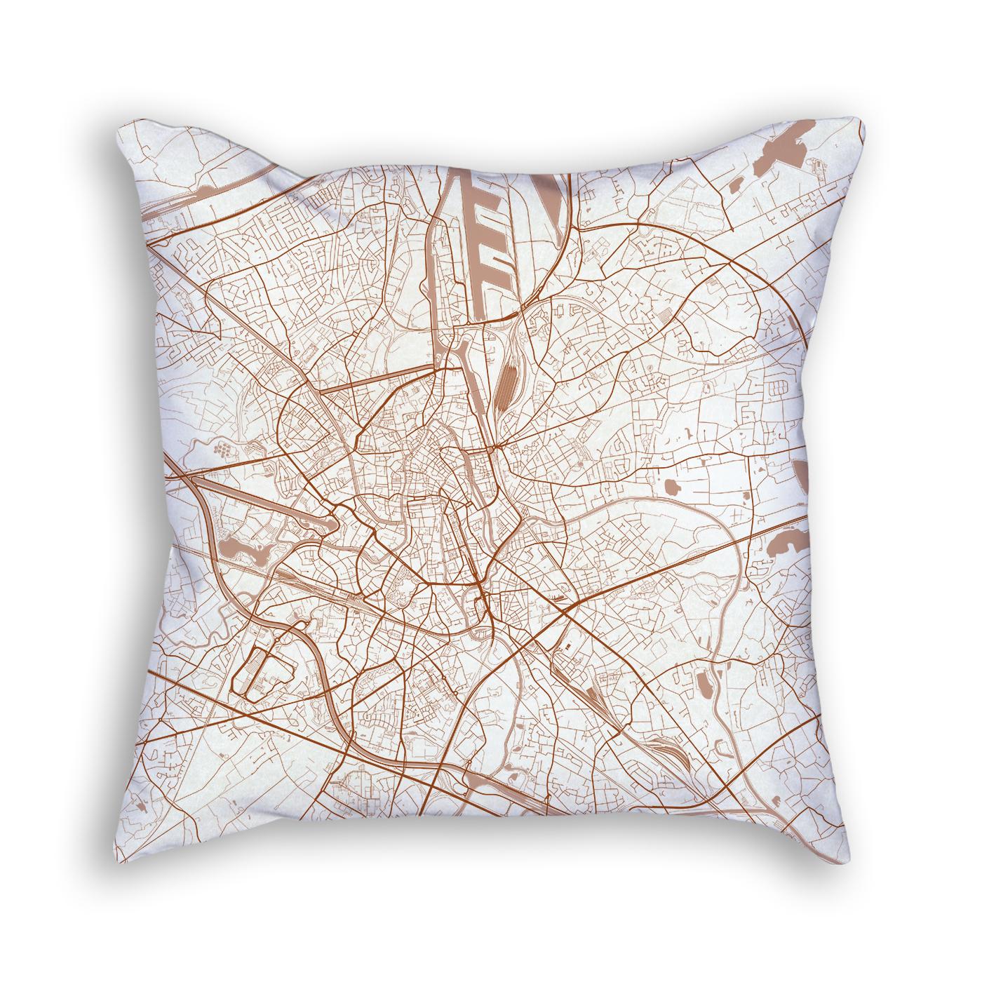 Ghent Belgium City Map Art Decorative Throw Pillow