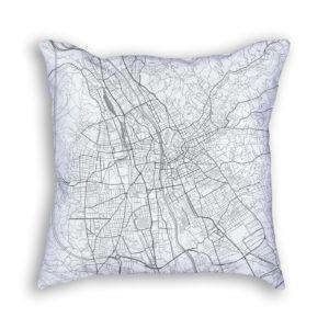 Graz Austria City Map Art Decorative Throw Pillow