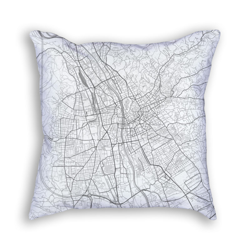 Graz Austria City Map Art Decorative Throw Pillow