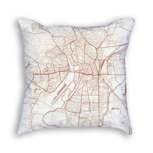 Halle Germany City Map Art Decorative Throw Pillow