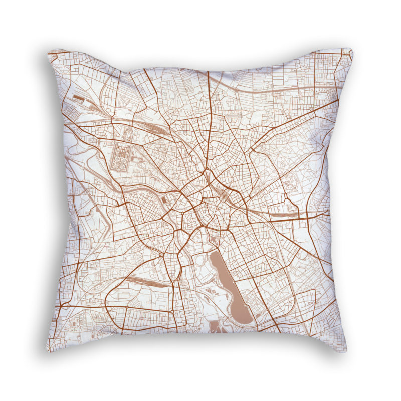 Hanover Germany City Map Art Decorative Throw Pillow