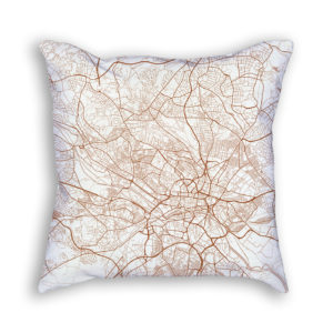 Leeds England City Map Art Decorative Throw Pillow