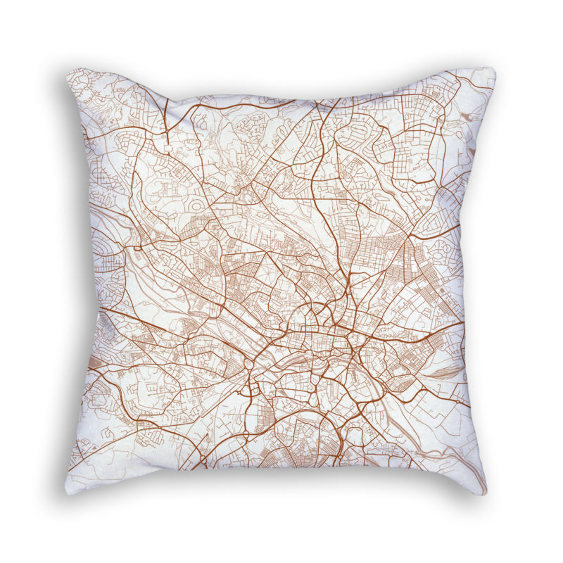 Leeds England City Map Art Decorative Throw Pillow