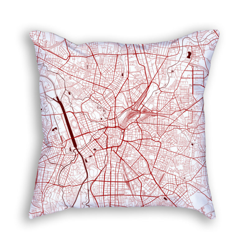 Leipzig Germany City Map Art Decorative Throw Pillow
