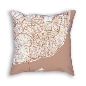 Lisbon Portugal City Map Art Decorative Throw Pillow