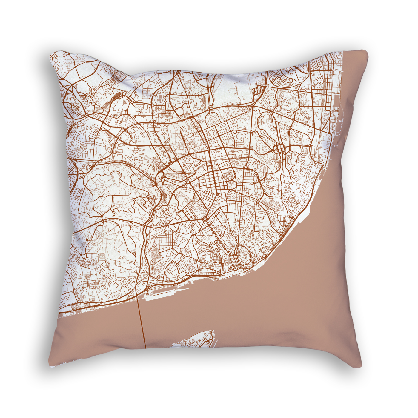 Lisbon Portugal City Map Art Decorative Throw Pillow